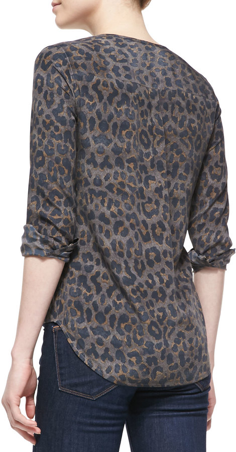 Equipment Lynn Silk Printed Long-Sleeve Blouse, Gunmetal