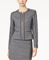 Calvin Klein Petite Tweed Piped-Trim Blazer