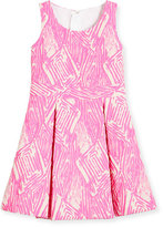 Milly Minis Pleated Jacquard Fit-and-Flare Dress, Pink, Size 8-14