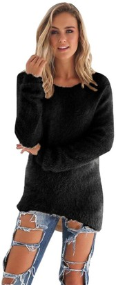 Rikay Women Jumper Womens Pullover Jumper Solid Sweater Crew Neck Jumper Ladies Long Sleeves Soft Tops Blouse Shirts 4 Colors Rikay Black