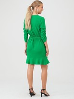 Very Ruched Sleeve Wrap Mini Dress - Green