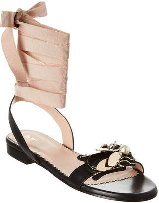 RED Valentino Bee Embellished Leather Sandal