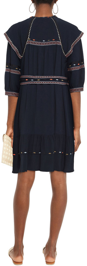 Thumbnail for your product : BA&SH Patty Belted Embroidered Crepe De Chine Dress