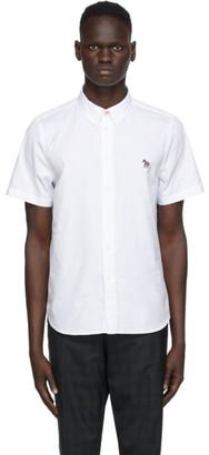 Paul Smith White Poplin Zebra Short Sleeve Shirt