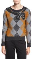 Marc Jacobs Argyle Sweater w/Sequined Bow, Ochre