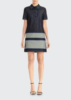 Carolina Herrera Short-Sleeve Denim Shirtdress