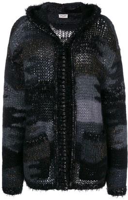 Saint Laurent camouflage long-sleeve cardigan