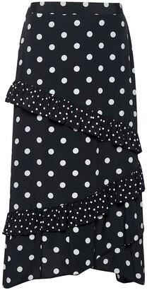 Dorothy Perkins Frill Midi Skirt - Black