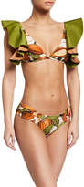 Agua De Coco Cacao-Print Ruffle Triangle Bikini Top