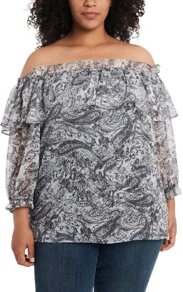 Vince Camuto Paisley Ruffled Off-The-Shoulder Top (Plus Size)