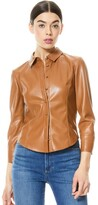 Thumbnail for your product : Alice + Olivia Nadine Vegan Leather Button Down