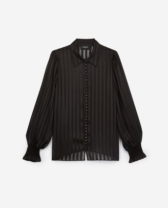 The Kooples Floaty black shirt with stripes