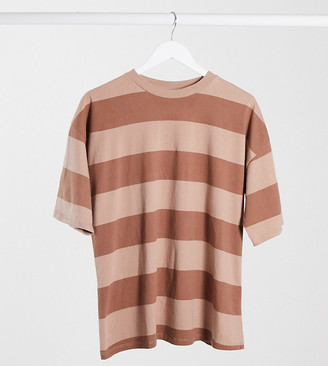 ASOS DESIGN Maternity oversized T-shirt in chunky washed pink stripe