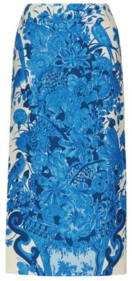 Valentino Printed Crepe Midi Skirt