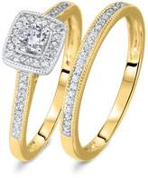 My Trio Rings 1/3 CT. T.W. Round Cut Diamond Ladies Bridal Wedding Ring Set 10K Yellow Gold