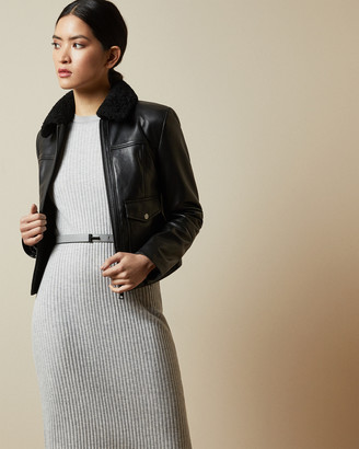 Ted Baker DASIIY Shearling collar leather jacket