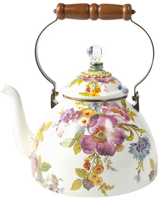 Mackenzie Childs MacKenzie-Childs - Flower Market Enamel Tea Kettle - White - Large