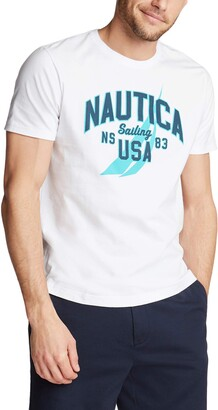 Nautica Men's Short Sleeve 100% Cotton Classic Logo Series Graphic Tee