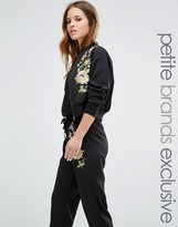 Glamorous Petite Floral Embroidered Bomber