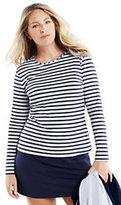 Classic Women's Plus Size Long Swim Tee Rash Guard-White/Deep Sea Stripe
