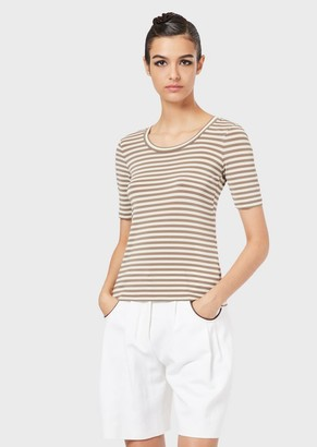 Giorgio Armani Jersey T-Shirt With Two-Tone Stripes