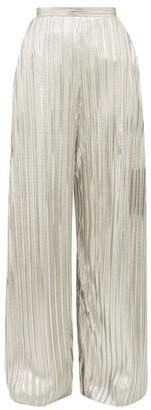 Rodarte Wide Leg Pleated Metallic Trousers - Womens - Silver