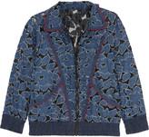 Anna Sui Jacquard-trimmed denim-appliquéd lace jacket