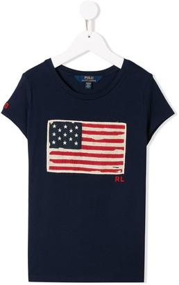 Ralph Lauren Kids logo flag embroidered T-shirt