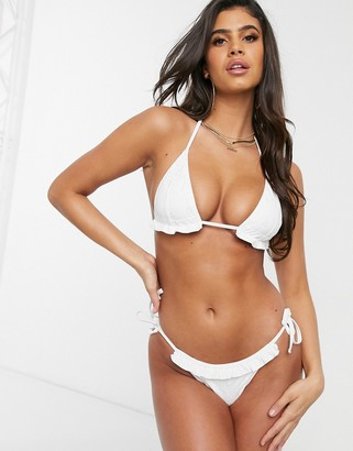ASOS DESIGN mix and match broderie frill triangle bikini top in white