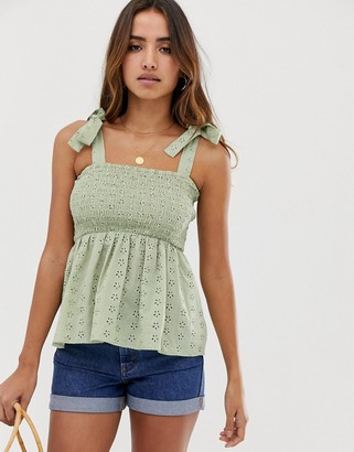 ASOS DESIGN cami broderie sun top with shirring and tie shoulder detail