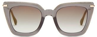 Jimmy Choo Ciara Square Glittered-acetate Sunglasses - Womens - Black