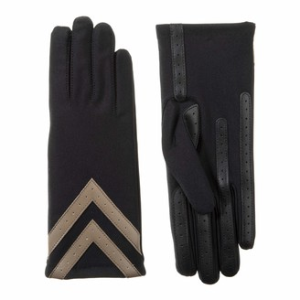 Isotoner Women's Fleece-Lined Gloves with Chevron Applique and Smart Touch; smartDRI Black; L/X-Large