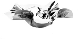 """Classic Touch 14"""" Round Stainless Steel Ruffled Design Serving Bowl"""