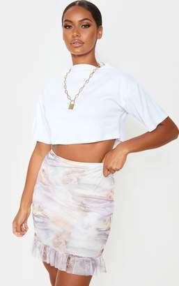 PrettyLittleThing Renaissance Printed Mesh Frill Hem Mini Skirt