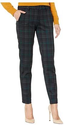 Liverpool Kelsey Knit Trousers in Tartan Plaid Knit (Black/Evergreen) Women's Casual Pants