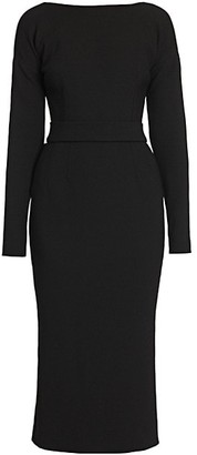Dolce & Gabbana Belted Bow-Back Double Crepe Dress