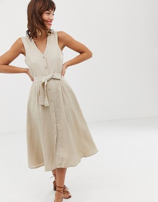 And other stories & belted linen blend midi dress in natural beige
