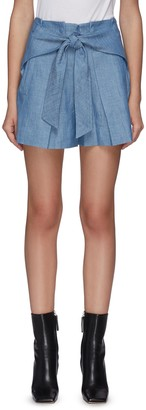3.1 Phillip Lim Belted patch pocket chambray shorts