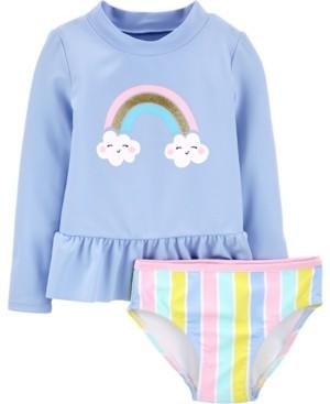 Carter's Toddler Girls 2-Pc. Rainbow Rashguard Swim Set