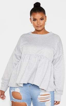 PrettyLittleThing Plus Grey Marl Sweat Frill Detail Fray Hem Top