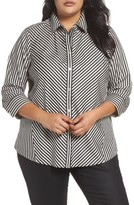 Foxcroft Plus Size Women's Fallon Satin Stripe Cotton Shirt