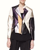 3.1 Phillip Lim Shimmery Colorblock Leather Biker Jacket