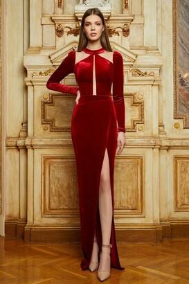 Cristallini Long Sleeve Velvet Slit Gown