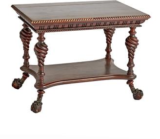 Rejuvenation Victorian Mahogany Barley-twist Library Table w/ Claw Feet