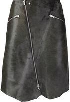 Yang Li zipped asymmetric hem skirt - women - Calf Leather/Pony Fur - 38