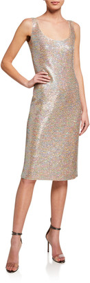 St. John Dense Sparkle Knit Scoop-Neck Dress