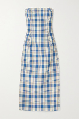 Carolina Herrera Strapless Checked Cotton-pique Midi Dress - Blue