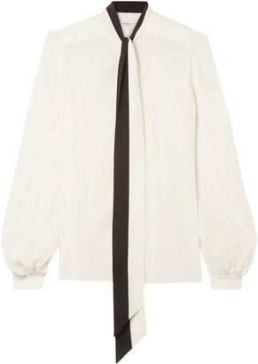 Givenchy Tie-neck Two-tone Silk Crepe De Chine Blouse