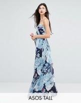 Asos Tall Wedding Chiffon Bandeau Blue Floral Printed Maxi Dress