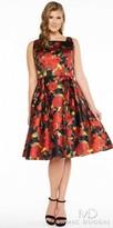 Mac Duggal Rose Print Knee Length Plus Size Cocktail Dress
